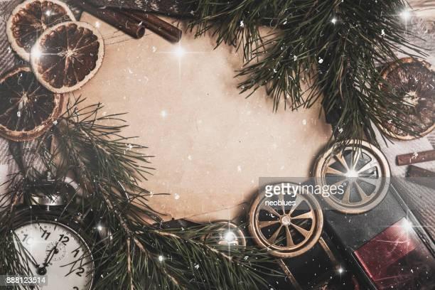 Vista superior de invierno y Navidad acogedor