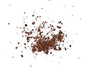 Top view of  Fresh coffee powder on white background
