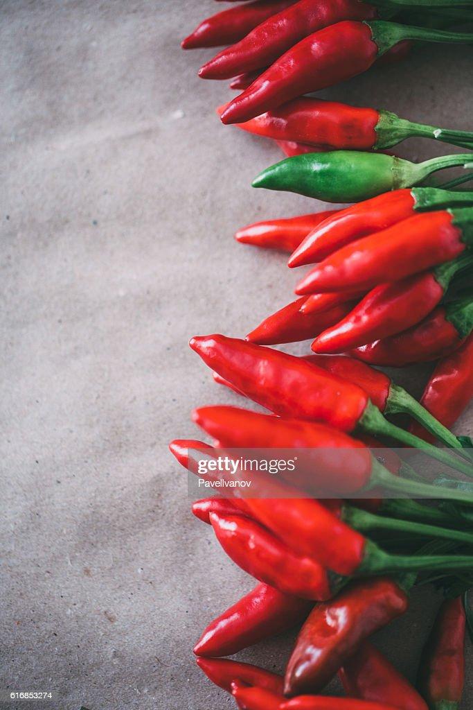 Top view of hot pepper closeup. : Stock Photo