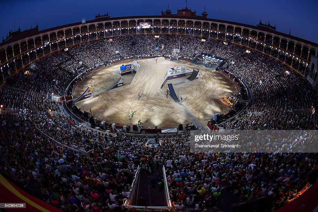 Top view of Las Ventas during Red Bull X Fighter on June 24, 2016 in Madrid, Spain.