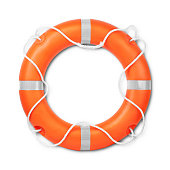Top view of lifebuoy, isolated on a white background with light shadow. Clipping path included..