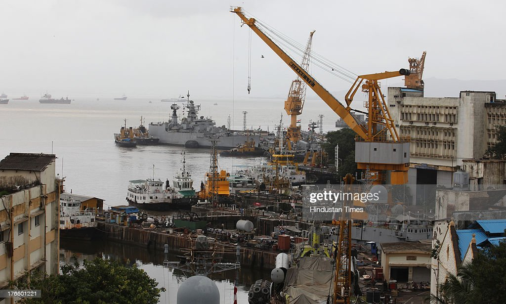 A top view of Lion Gate where a massive fire broke out in a submarine named INS Sindhurakshak in night at the Naval Dockyard on August 14, 2013 in Mumbai, India. The blast followed by a fire occurred shortly after midnight on the Russia-made submarines, INS Sindhurakshak which sank soon after getting gutted. The details of other casualty figures were not immediately available though some injured sailors have been rushed to naval hospital INHS Ashvini in Colaba.