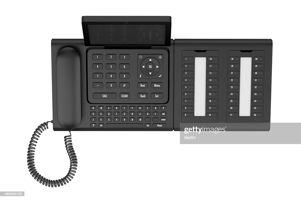 top view of modern office desk phone isolated on white : Stock Photo