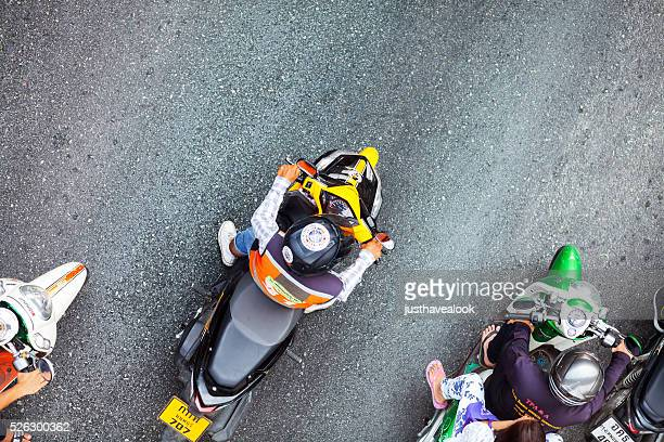 Top view of motorcycle drivers