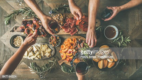 Top view of people having party, gathering, celebrating together : Foto de stock
