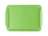 Top view of empty plastic tray, isolated on white background