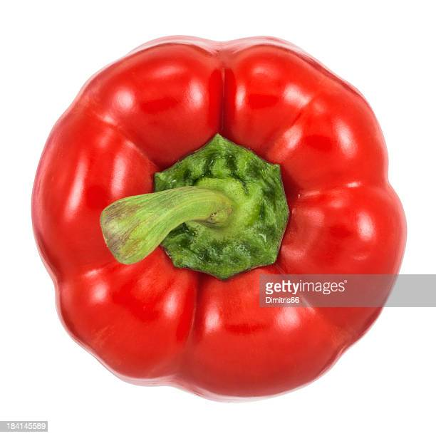 Top view of red bell pepper on white background