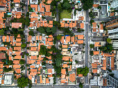Top view of residential houses in Sao Paulo, Brazil