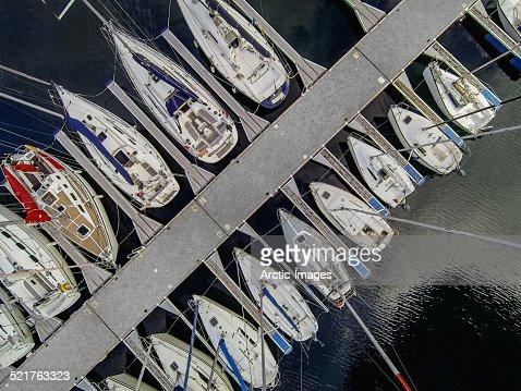 Top view of sailboats