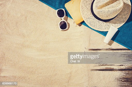 Top view of sandy beach. Background with copy space : Stock Photo