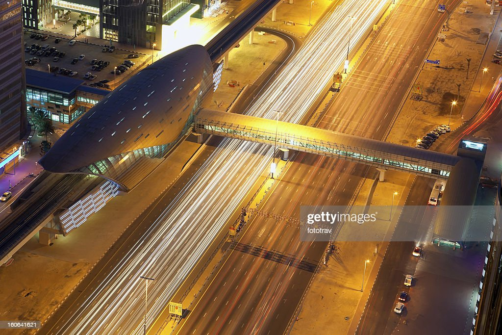 Top view of Sheikh zayed road and Dubai subway station : Stock Photo