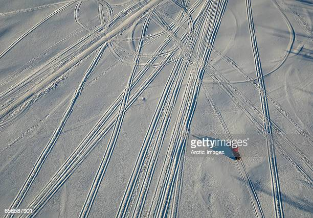 Top view of snowmobile and tracks, Lapland, Sweden