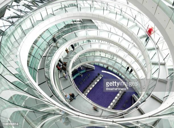 Top view of spiral staircase inside a building