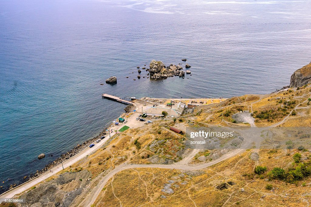 Top view of Sudak bay : Stock Photo