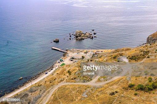 Top view of Sudak bay : Foto de stock
