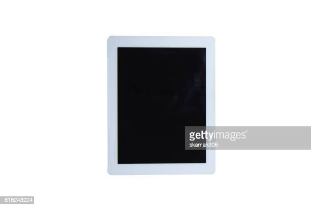 top view of tablet and technology with white background