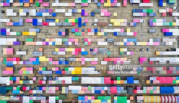 Top view of Tarad Rodfai or Train Market, a colorful night flea market in Bangkok, Thailand