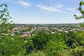 Top view of the small Kuban city of Krymsk in the Krasnodar region. Sunny summer day