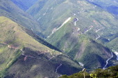 Top view of the winding 'death road' one of the world most dangerousnear Challa Los Yungas region 110 km north of La Paz on February 9 2012 The...