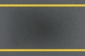 Top view of traffic yellow line marking on metal platform, abstract background