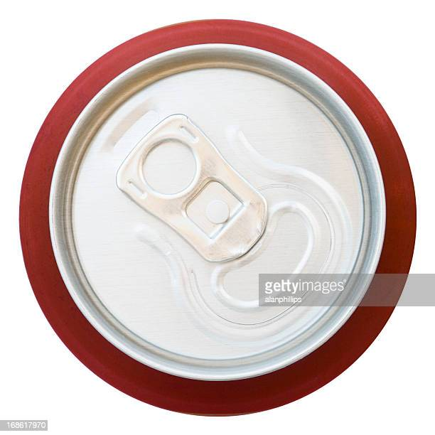 Top view of unopened aluminium drinks can