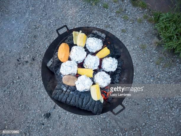 Top view of vegan barbecue
