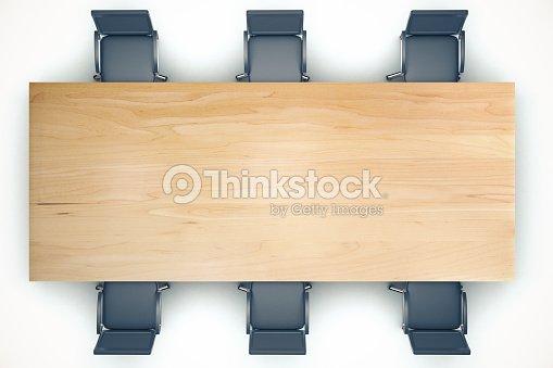 Vista Dallalto Conferenza Sul Tavolo Di Legno E Nero ...