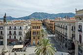 Top view on Piazza San Domenico in Palermo, Italy