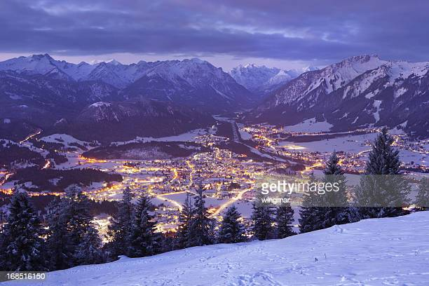 top view on reutte in the dawn, tirol, austria, winter