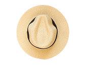 Top view panama hat isolated on a white background