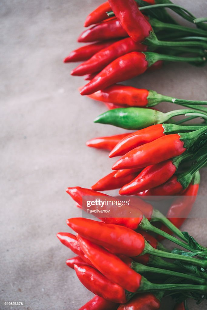 Top view Red Hot Chili Peppers. : Stock Photo