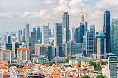 Top views skyline business building and financial district  in sunshine day at Singapore City, Singapore