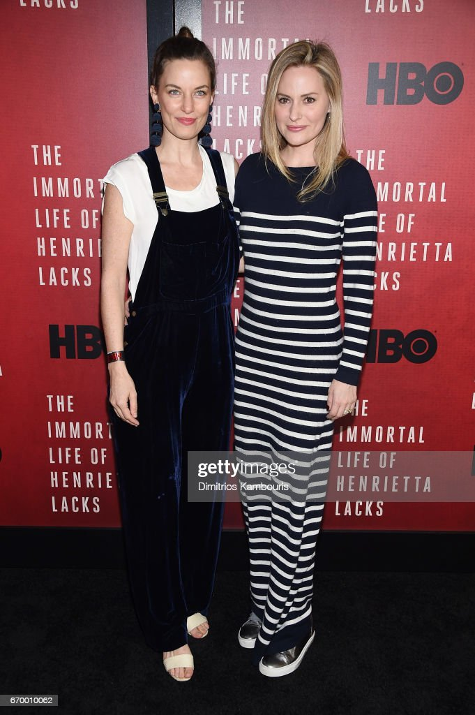 Topaz Page-Green and Aimee Mullins attend 'The Immortal Life of Henrietta Lacks' premiere at SVA Theater on April 18, 2017 in New York City.
