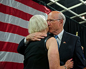 Topeka Kansas 1142014 Senator Pat Roberts with his wife Franki on the stage at election night victory party Senator Roberts was reelected tonight to...