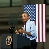 Topeka Kansas 1222015 President Barack Obama addresses the student body at the University of Kansas today Standing under a banner that read 'Middle...