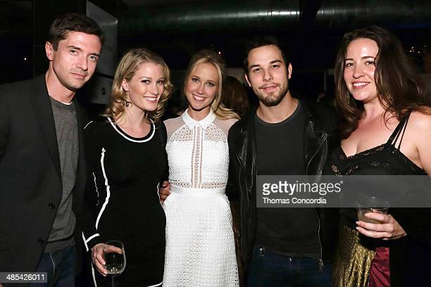 Topher Grace Ashley Hinshaw Anna Camp Skylar Astin and guest attend the 'Goodbye To All That' Cast Premiere Party At Supper Suite By STK Hosted With...