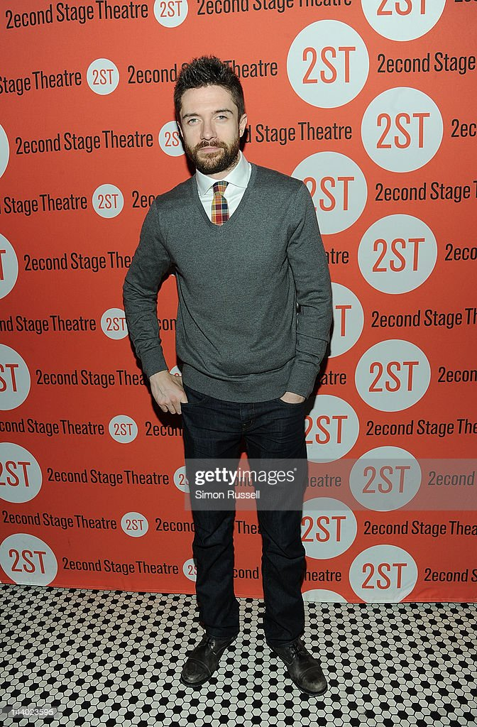 <a gi-track='captionPersonalityLinkClicked' href=/galleries/search?phrase=Topher+Grace&family=editorial&specificpeople=203130 ng-click='$event.stopPropagation()'>Topher Grace</a> attends 'Lonely I'm Not' Off Broadway Opening Night at HB Burger on May 7, 2012 in New York City.