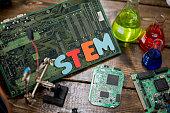 "A variety of science-related materials are displayed on a table, including: a large motherboard, science flasks filled with colorful liquids, and various computer parts. ""STEM"" is spelled out in color"