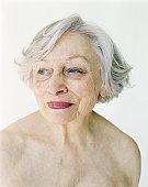 Topless senior woman, close-up
