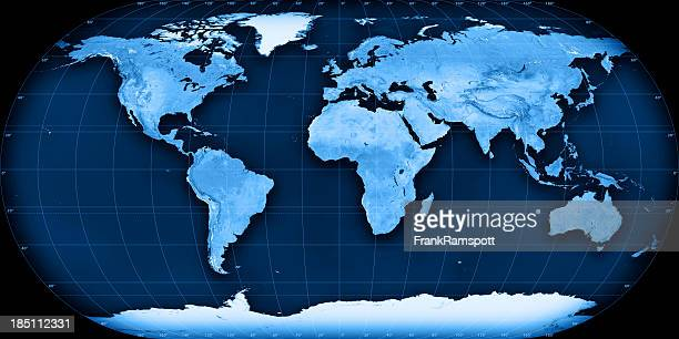 Topographic World Map Eckert III Projection