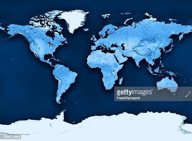 Topographic World Map Miller Projection Clean