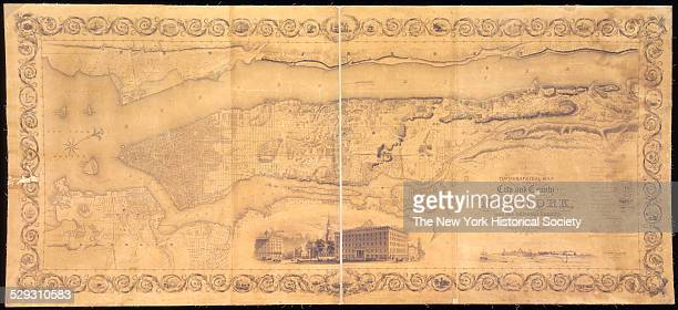 Topographical map 1836 Covers Manhattan and the northwestern part of Brooklyn New York NY shows only the shoreline of New York's other boroughs also...
