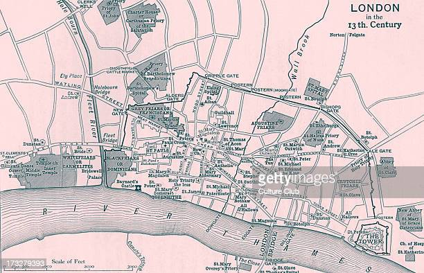 Topographical map depicting London in 13th Century Printed by Walker and Boutall sc Emery Walker