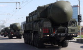 TopolM intercontinental ballistic missiles are seen leaving town after the Victory Day Parade on May 9 2011 in Moscow Russia Russian people today...
