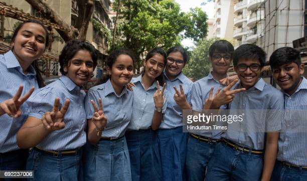 SSC toppers celebrate after the class 10th CBSE result announced outside the R N Podar School at Santacruze on June 3 2017 in Mumbai India Around...