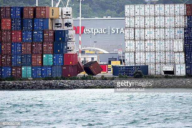 Toppled shipping containers lay on their sides in the centerpoint container terminal in Wellington after a 78 earthquake struck the South Island on...