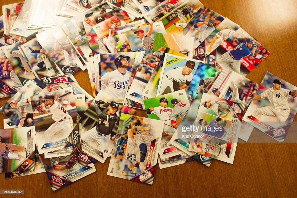 Topps' baseball cards from the 2016 season are on display during the 'Open Topps Baseball Series 1 Cards ' event at the Topps' offices on February 10, 2016 in New York City.