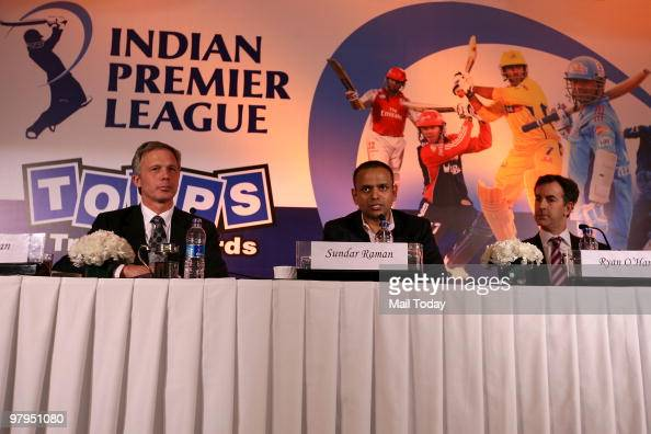 Topps CEO Ryan O'Hara and Vice President Chris Rodman along with Chief Operating Officer Indian Premier League Sundar Raman during the announcement...