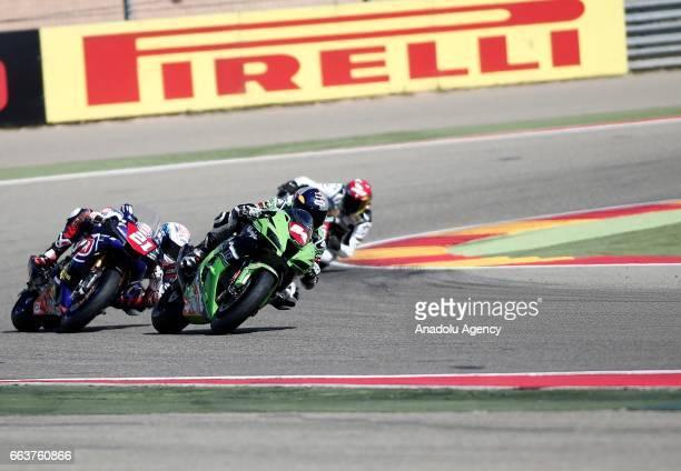 Toprak Razgatlioglu and Florian Marino compete in Superstock 1000 Championship's 3th Leg at the Aragon track in Alcaniz Spain on April 2 2017