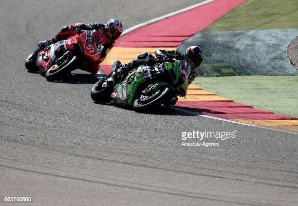 Toprak Razgatlioglu and Mike Jones compete in Superstock 1000 Championship's 3th Leg at the Aragon track in Alcaniz Spain on April 2 2017